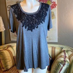 Haute Hippie Gray Black Lace Bead Tee Shirt M